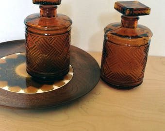 SALE - Vintage Amber Glass Decanters, Vintage Bar ware, Amber Glass Apothecary Jars