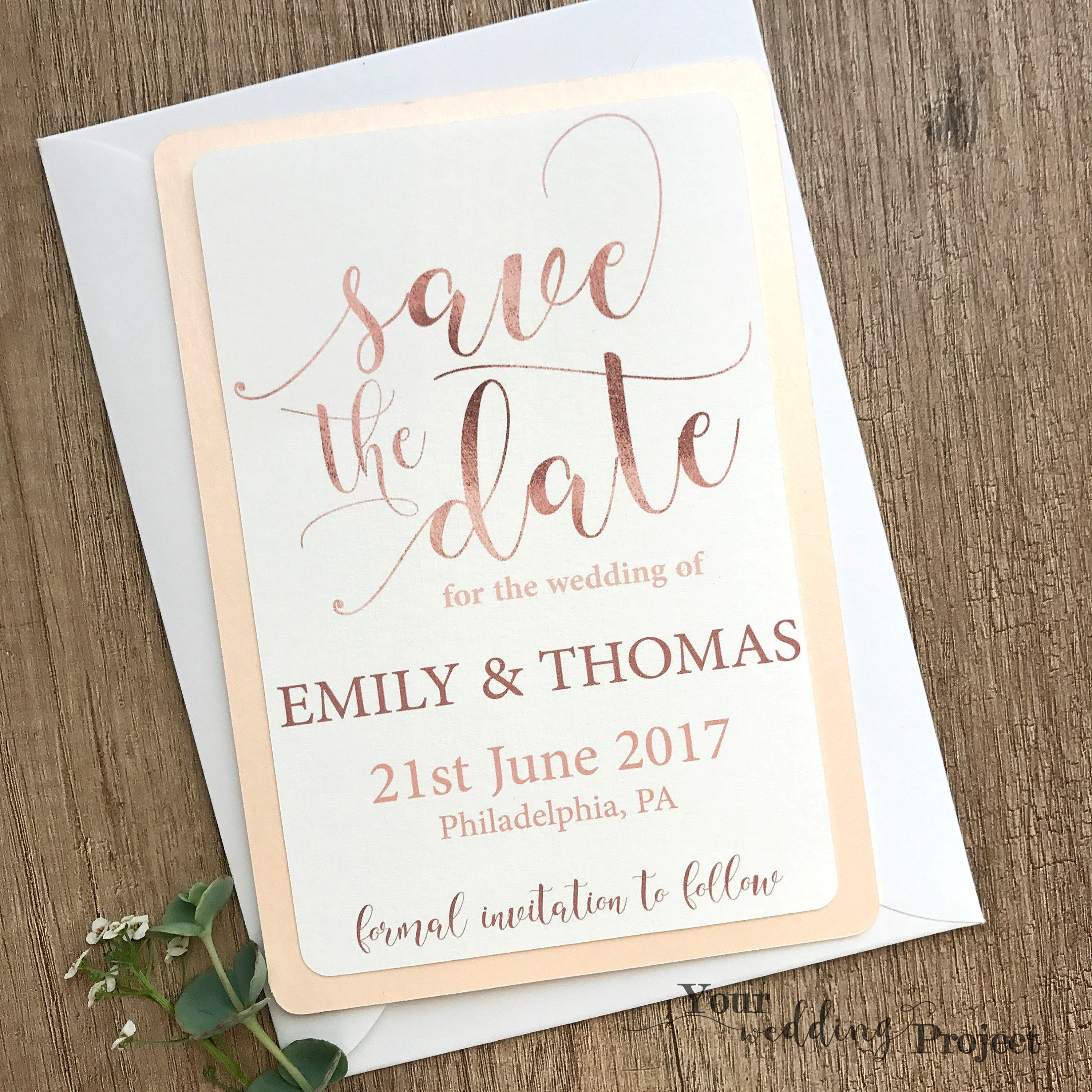 What Are Save The Date Cards: Rose Gold Save The Date Card & Envelope Elegant Save The