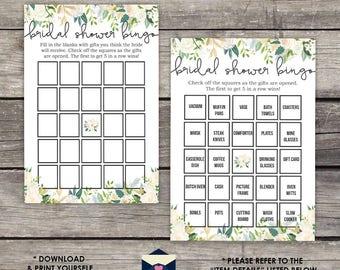 Bridal shower bingo etsy greenery bridal shower bingo game with ivory accents floral bridal bingo diy print yourself solutioingenieria Images