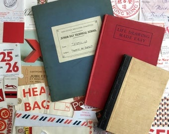 Marvellous red themed collage kit. 100 piece pack including 3 vintage book cover canvases for your artwork.