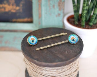 Peacock Hair Grips • Gift for her, feather, pretty, cute, boho, hair pin, party, antique, Valentines girlfriend wife, up do