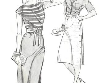 Stretch & Sew 443 Sewing Pattern Drindl and Side Buttoned Skirt sz 30 thru 46 Hip Uncut