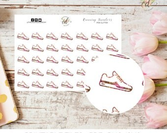 Running Planner Stickers | Two Dollar Tuesday | Pink Glitter | Runner Stickers | Planner Accessories | Exercise Stickers | Fitness Stickers