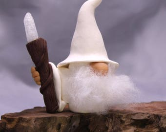 White Wizard Gnome with Crystal Staff