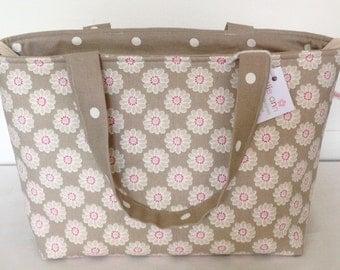 Tote Bag, Zippered Tote Bag, Taupe Daisy Bag, Medium Zippered Bag, Knitting Bag, Craft Bag, Baby Bag, Zip Bag, Shopping Bag, Overnight Bag