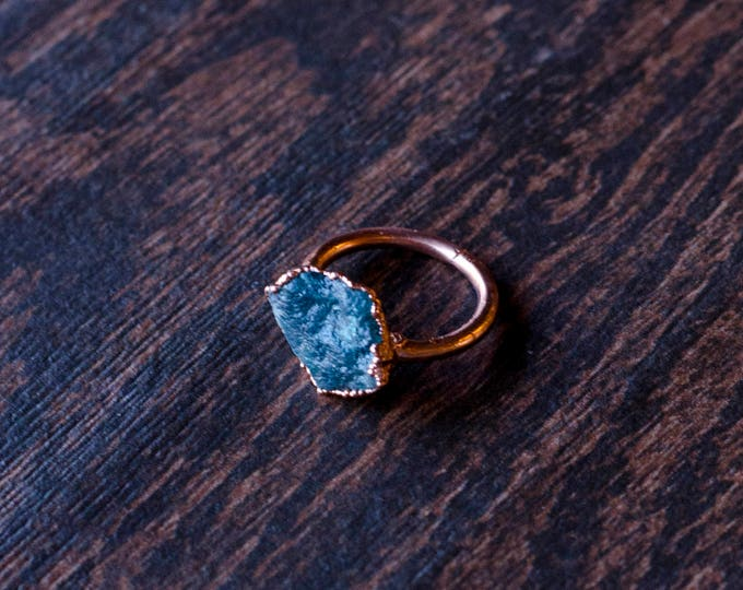 Blue Apatite and Copper Ring Size 7 1/2