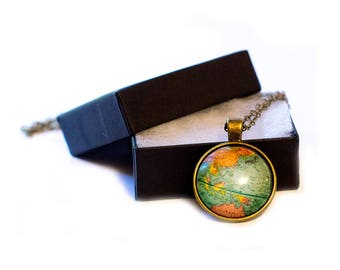 Globe jewelry box etsy world map necklace travel necklace teacher gift globe necklace w gift gumiabroncs Image collections