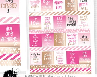 Inspirational QUOTE Pink and Rose gold planner stickers PRINTABLE for use with Erin Condren Horizontal planner. Stay Focused