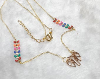 Gold multicolor origami Elephant necklace