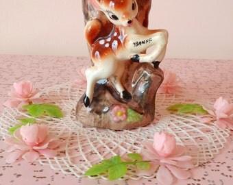 Vintage bambi / fawn planter vase