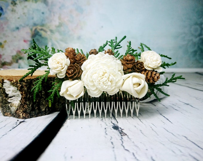 Green woodland HAIR COMB with cones, sola flowers and cedar