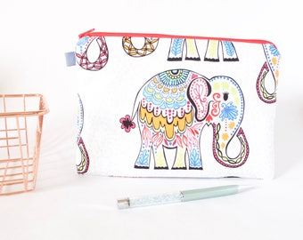 Elephant Pouch. Elephant Zipper Pouch. Indian Elephant. Cute Elephant Bag. Elephant Gift. Elephant Lover Gift. Cute Friend Gift. Sister Gift