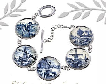 Delft Blue Bracelet, Glass Cabochon Jewelry, Dutch Porcelain, Windmills, Blue and White, Holland Lanscape, Travel, Gift for Delft collector