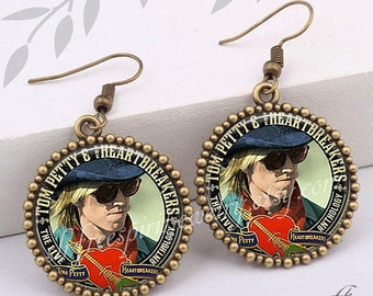 Tom Petty Earrings, Singer, Musician, Gainesville Florida Icon, Remembering Tom Petty, Famous Musicians, Rock Music, Gift for Tom Petty Fan,