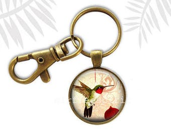 Hummingbird key chain, Nature Key Chain, Hummingbird Earrings, Spring Accessory, Birds and Flowers, Cabochon Jewelry, Gift for Bird watcher