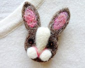 Rabbit pin brooch, handmade forest creatures, bunny badge, wool, animal owner gifts, stocking stuffers under 20