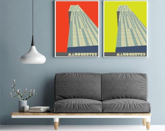 Large Manchester Art Print, Beetham Tower Poster, The Hilton Hotel, Manchester Gift, Manchester Wall Art, large wall art, A2, A1