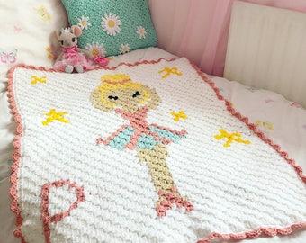 Crochet Personalised Ballerina C2C Blanket Pattern