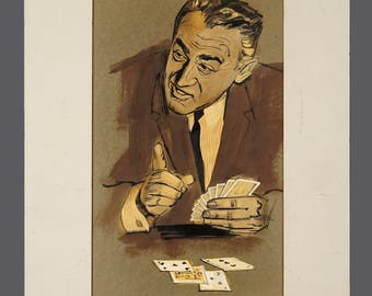 Mid Century Gouache Commercial Illustration Magazine Ad MCM MOD Modern Decor Art Photo Realistic Rendering Don Draper Playing Cards