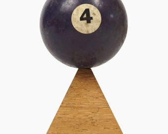 """No. 4 Pool Ball Miniature Clay Billiard Ball Size 1 5/8"""" Purple Violet Four IV Solid Solids"""