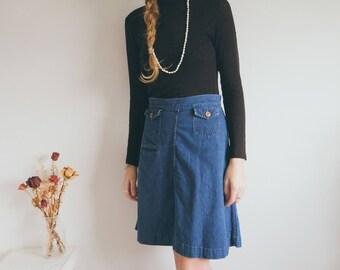 Vintage 70s Denim Skater Skirt, Blue Denim, Pocket Skirt, Boho Skirt