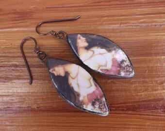 Art earrings, pre-Raphaelite earrings, picture earrings, romantic earrings, boho earrings, festival jewellery, ceramic earrings, gypsy