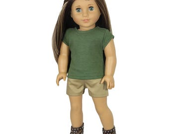 Fits Like American Girl Doll Clothes.  Heather Green Tee and Khaki Shorts.