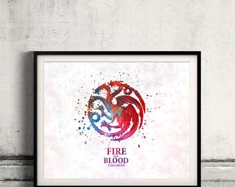 Game of thrones Targaryen Fine Art Print Glicee  Poster Watercolor Children's Illustration Wall - SKU 2785