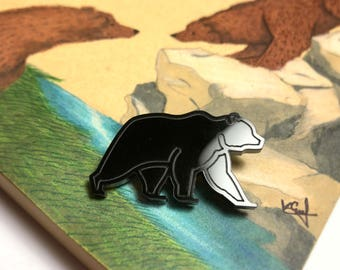 Acrylic Black Bear Brooch, for small gifts