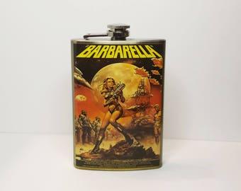 Jane Fonda is Barbarella (1968) Movie Poster 8 oz stainless steel flask
