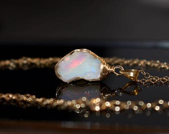 Raw Opal Necklace, Raw Stone Necklace, October Birthstone Jewelry, Gold Fire Opal Pendant Necklace, Wire Wrap Raw Crystal Necklace