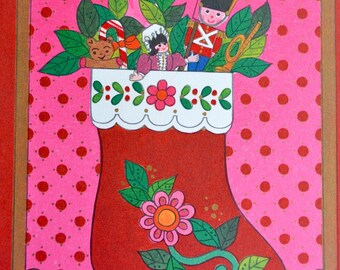 Vintage Christmas Card  - Mod Pink Stocking Filled with Toys - Unused