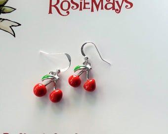 Cherry Earrings, Rockabilly Earrings, Pin Up, Kitsch Earrings, Novelty Jewelry, Fruit Accessories, Red Cherry Drops, Rockabilly Jewelry