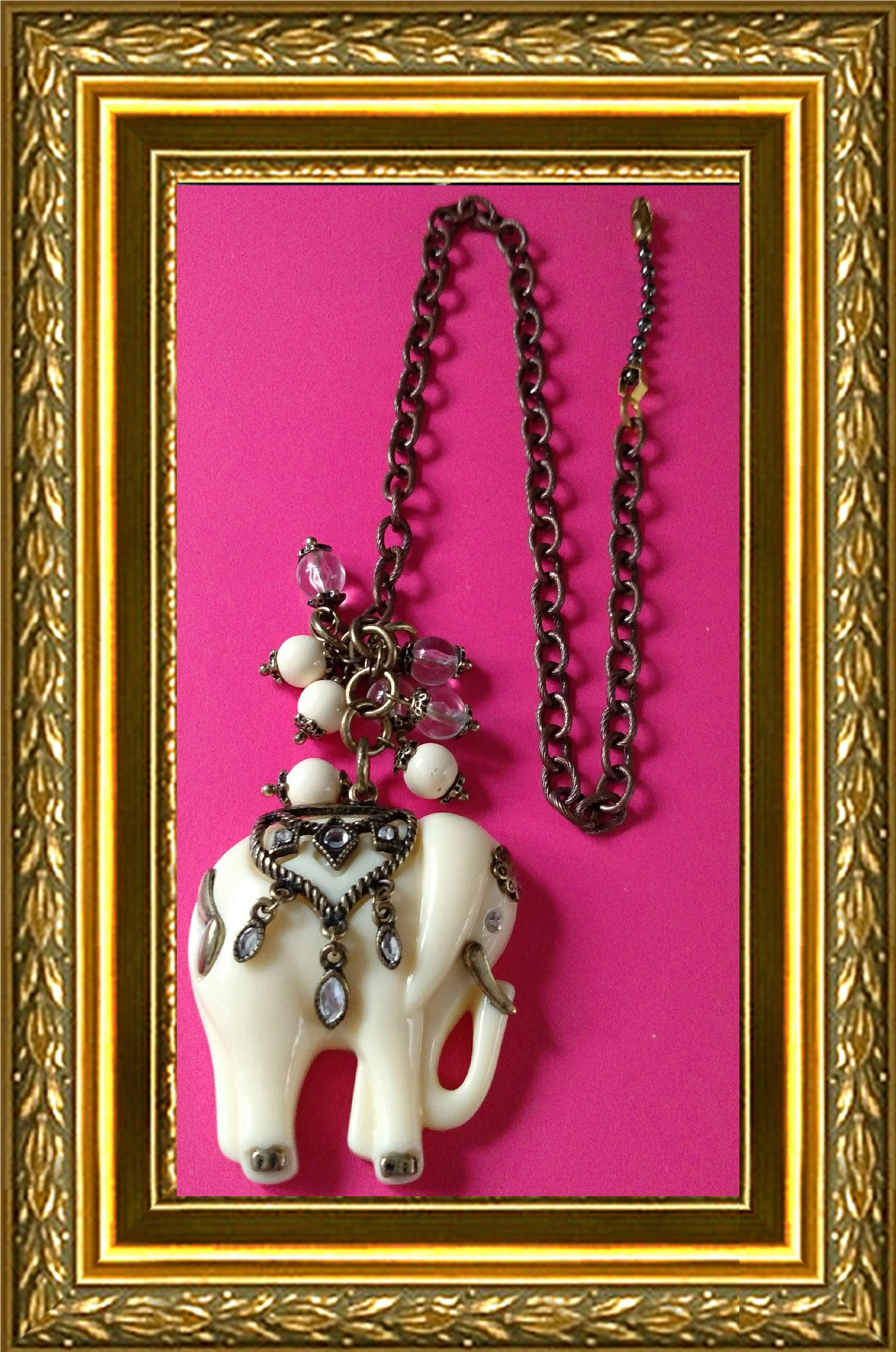 Elephant Ceiling Fan Pull Chain Home Decor Bronze Link Chain Faux Ivory Elephant W Bronze