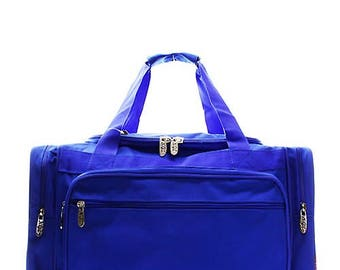 20 inch Solid Color Royal Blue Canvas Monogrammed Duffle Bag