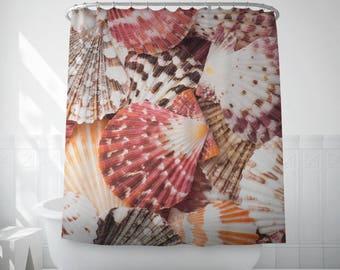 Sea Shell Shower Curtain, Nautical Bath Decor, Beach House Bath, Long Shower Curtain, Bath Curtain, Bath Photo Decor, Shower Curtain Liner