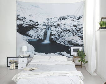 Wall Blanket With A Falling Water in Iceland, Dorm Tapestries, Cool Wall Tapestry, Wall Hangings, Tapestry