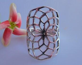 Stunnin Ethnic Brass Ring, Flower Of Life Ring, Boho White Brass Ring, Sacred Geometry Jewelry, Tribal Ring - Ring Size US 5.5