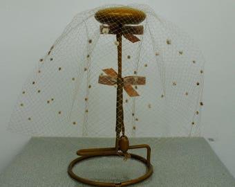 Vintage 50's Birdcage Veil - 1950's Beige Veil Bows Deadstock