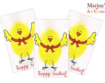 Happy Easter Greeting Cards,Chick Greeting Cards, Easter Egg Cards, Gift Cards, Cards for Easter, Hand Painted Card, Custom Easter Cards