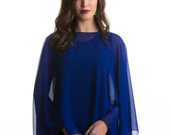 Royal Blue Chiffon Glamour Poncho Cape