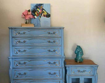 French Provincial High Boy/ Chest of Drawers/ Tall Boy and Nightstand