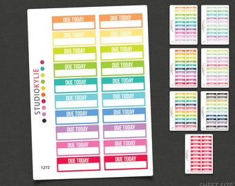 Due Today Planner Stickers - Repositionable Matte Vinyl