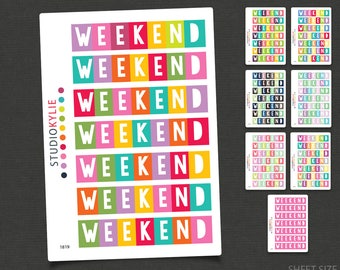 Weekend Planner Stickers  -  To Suit Erin Condren LifePlanner™ - Repositionable Matte Vinyl