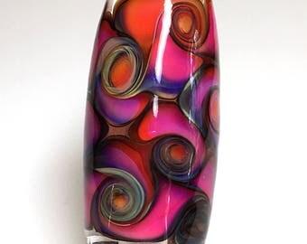 Handmade Glass Focal Bead/Fuchsia, Pink and Purple Swirl Handmade Barrel Bead/Handmade Glass Bead