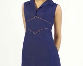 Vintage Sleeveless Mod Mini Sheath Dress Fitted A-Line Fit Flare Collared Navy Blue Spring Summer Casual 1950s 1960s