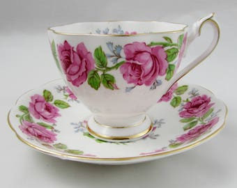 Queen Ann Lady Alexander Rose Tea Cup and Saucer, Vintage Bone China