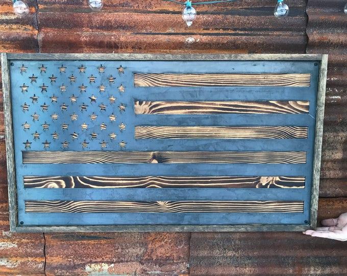 Rustic Metal Wood Flag, USA Flag, American Flag Sign, Wood Flag Decor, Farmhouse decor, Office Flag, Gunmetal Flag, Large Metal Wall Flag