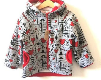 Kids jacket Cats and red hearts, kids hoodie, hooded jacket, cotton fleece jacket, jacket with pockets,  Cats jacket, Girls jacket