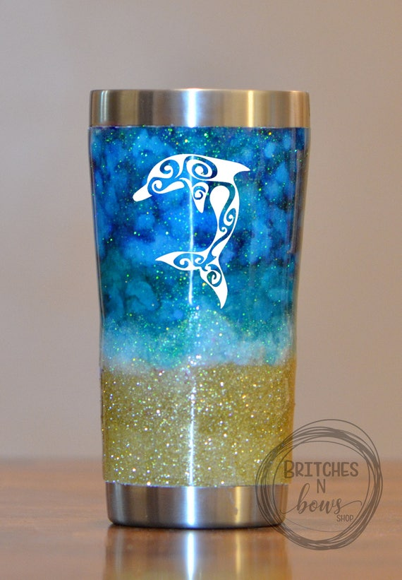 Seabreeze Ink Glitter Ozark Trail Tumbler With Silver Trim